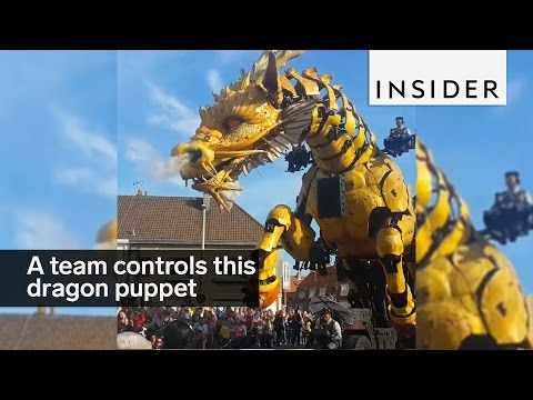 It takes a team to man this giant mechanical dragon puppet