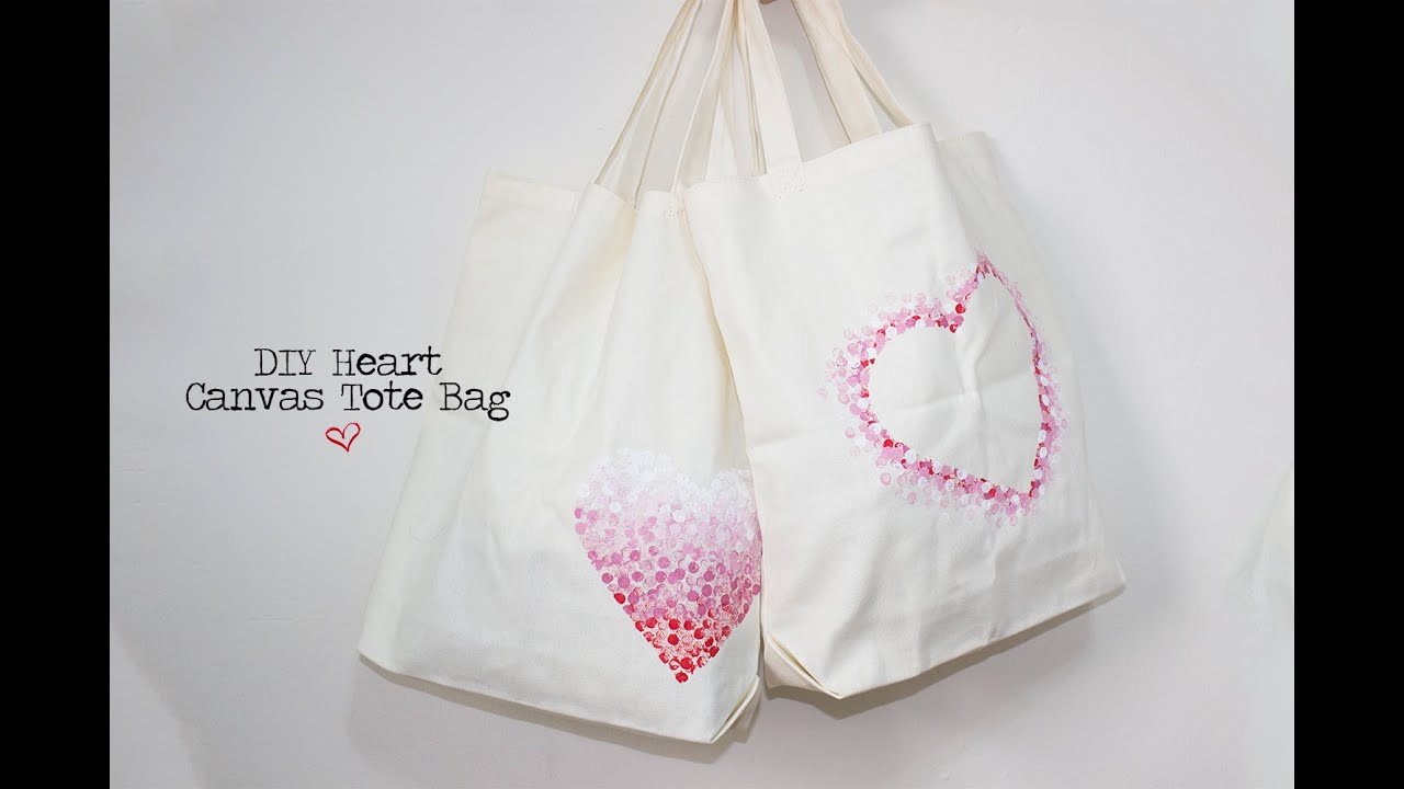 DIY Heart Canvas Tote Bags - YouTube