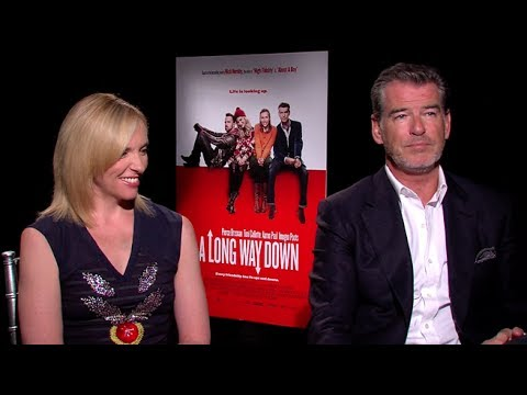Pierce Brosnan and Toni Collette interview - A Long Way Down (2014) JoBlo.com HD
