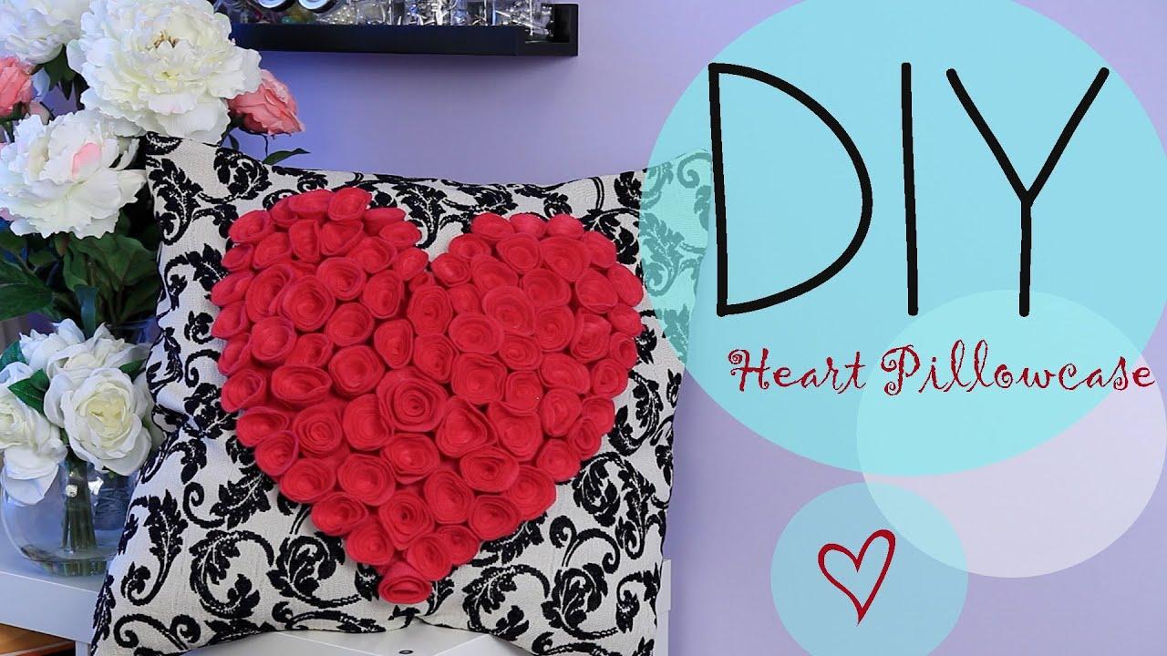 Cute Diy Pillow Cases : DIY Flower Heart Pillowcase Gift Idea ANN LE - YouTube