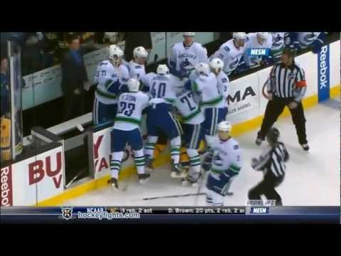Boston vs Vancouver brawl and fights 07.01.2012 NESN feed