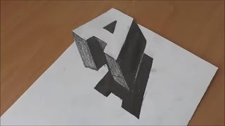 ÇOK KOLAY  A Harfi Kağıda 3D Nasıl Çizilir