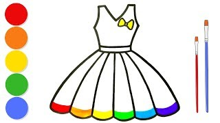 Glitter Rainbow Dress coloring and drawing for kids and toddlers | Learn colors | ArtLand