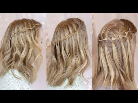 3 Waterfall Braids on Short Hair
