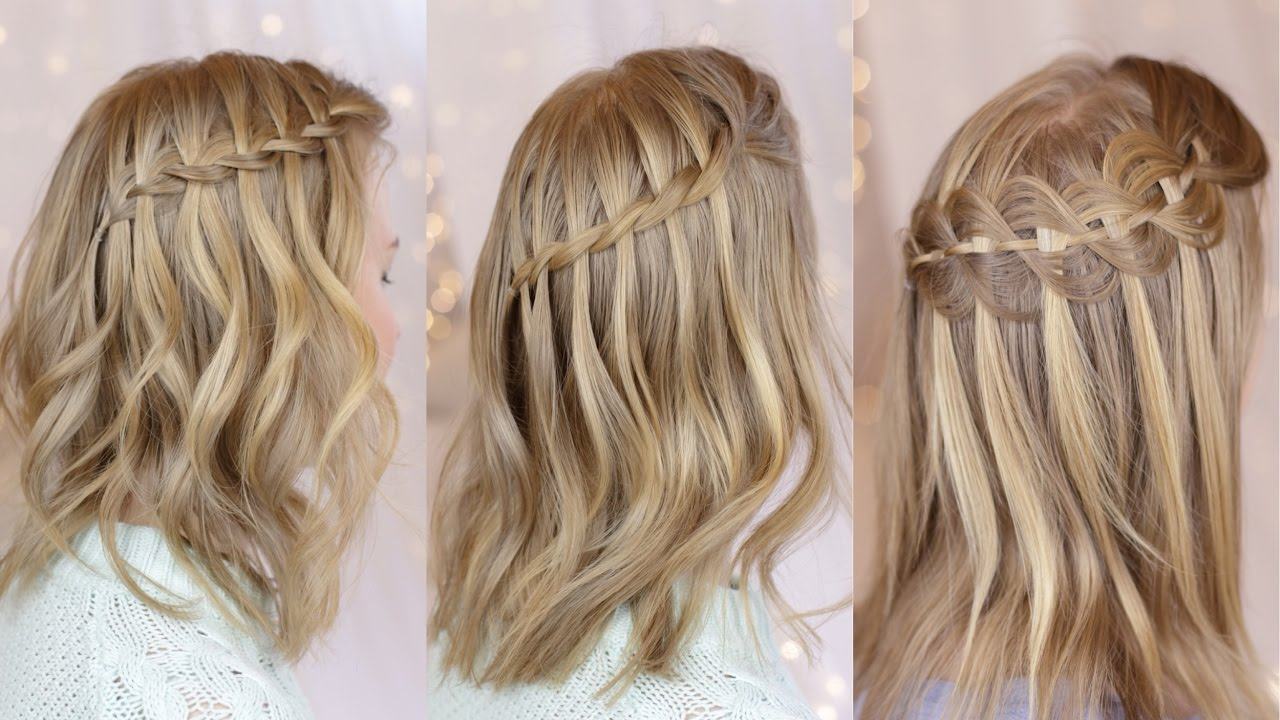3 waterfall braids on short hair