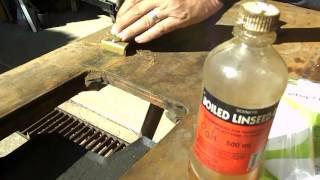 Vintage Industrial sewing machine table clean up