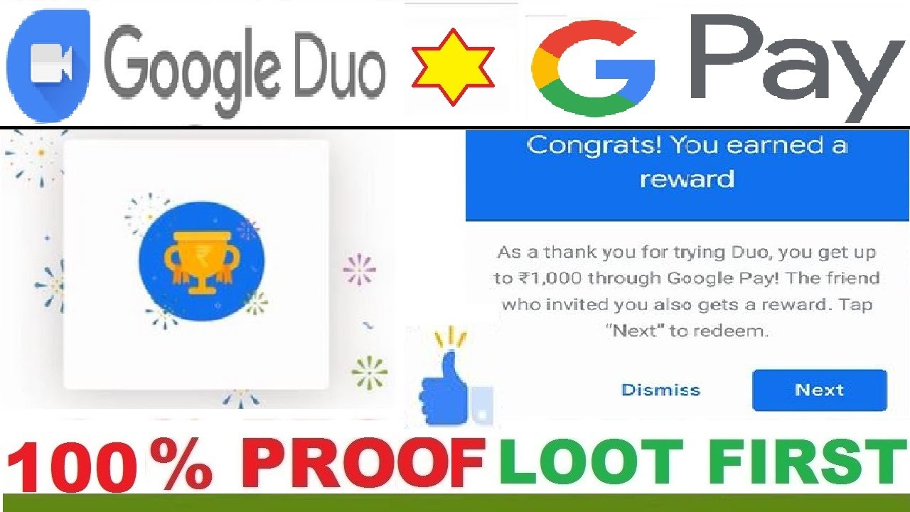 Google Duo Refer and Earn Payment Proof Google Duo Rewards google duo  google pay scratch cards