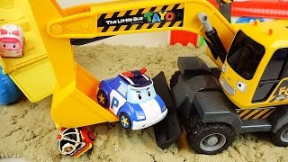 Robocar Poli Forkcrane and Truck car toys Sand play