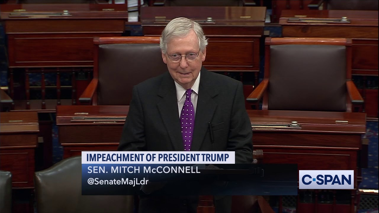 """Sen. Mitch McConnell: """"Vote to acquit the president of these charges."""" - CSPAN"""