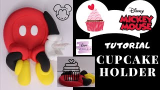 HOW TO MAKE A MICKEY MOUSE CUPCAKE HOLDER WITH CANDLE  AIR DRY CLAY  COLD PORCELAIN  POLYMER CLAY