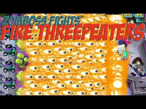 Plants vs Zombies 2 Epic Hack : The Fire Threepeaters vs Each Freakin