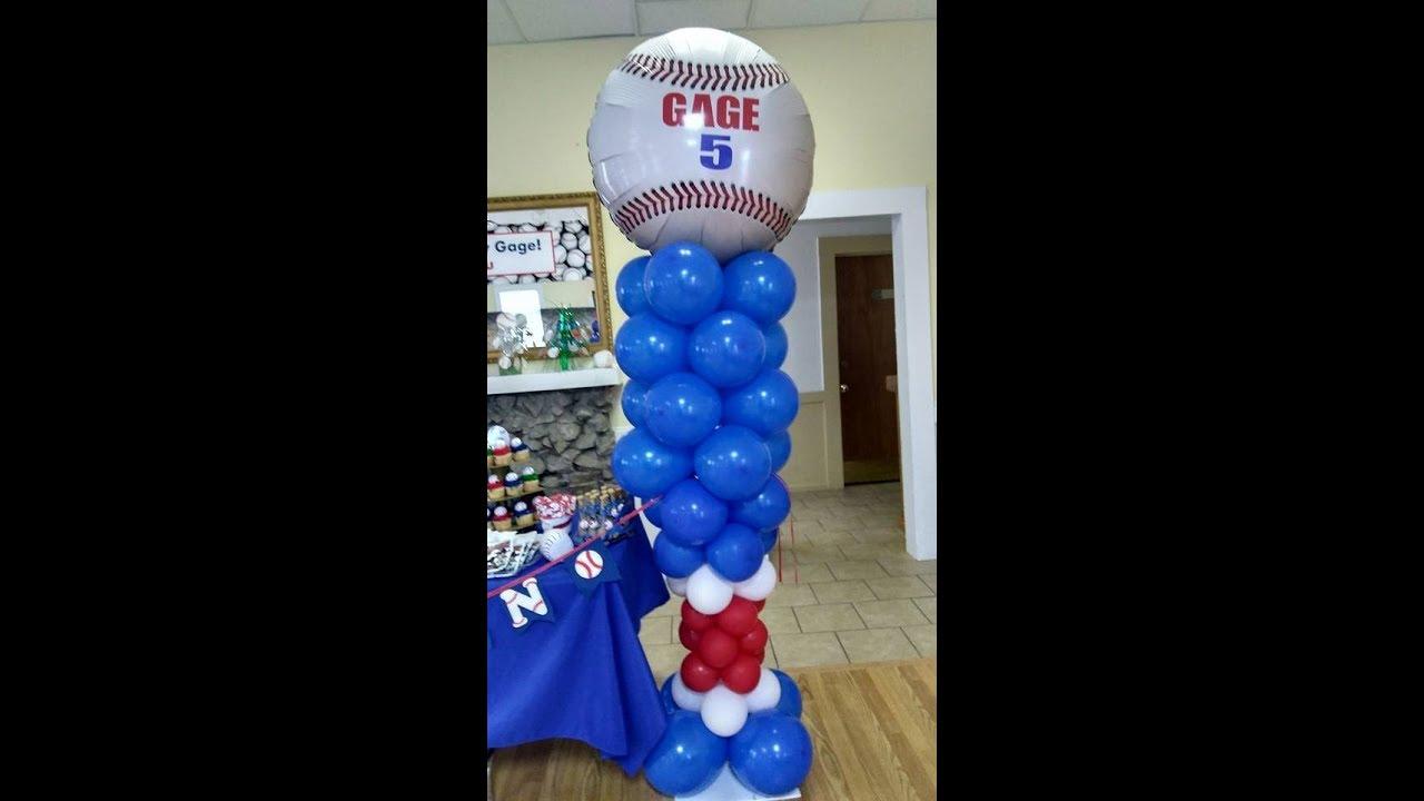 How To Make A Balloon Baseball Bat Column Theme Party Ideas