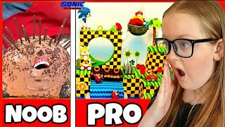 Sonic the Hedgehog Birthday Party Cake Baking Noob vs Pro Reaction Video