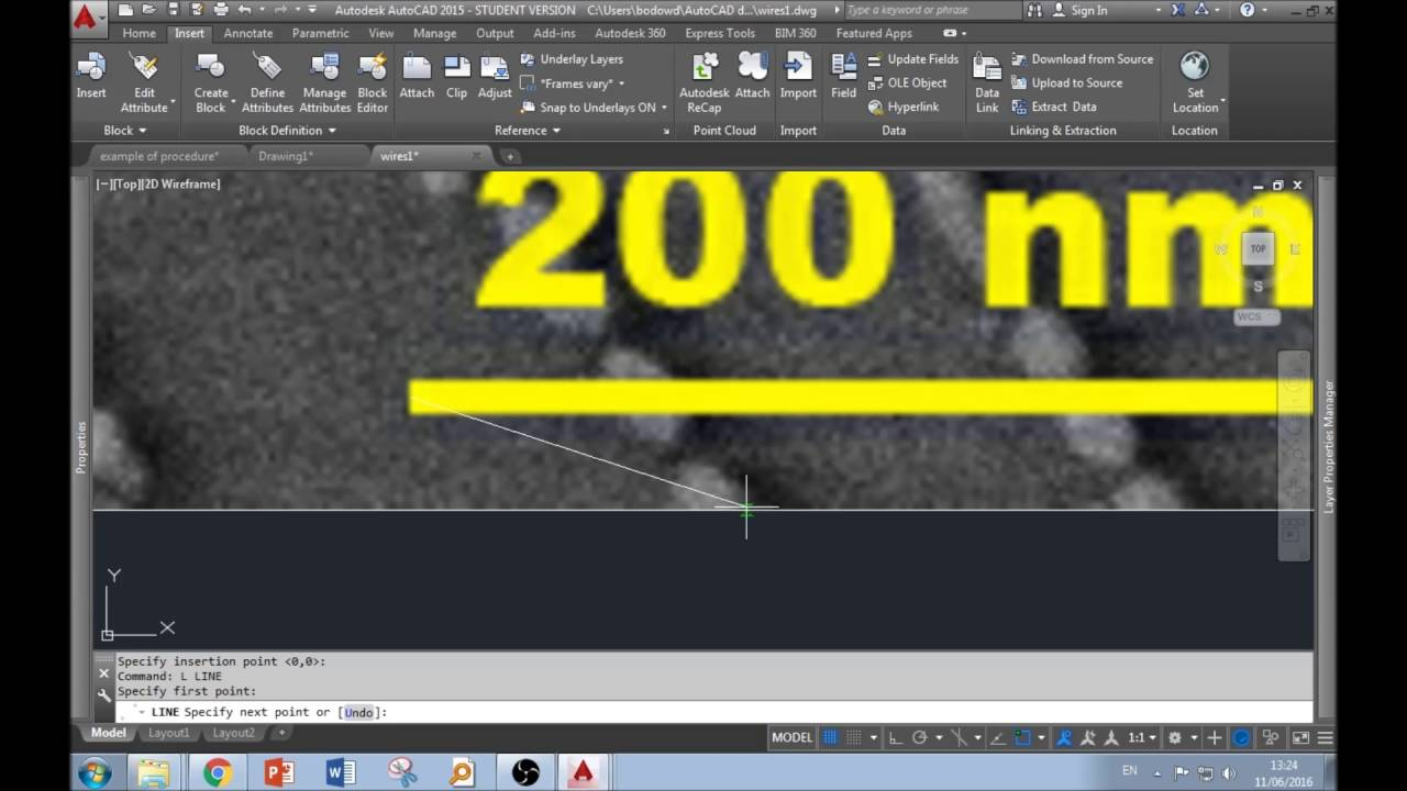 AutoCAD data extraction for SEM images
