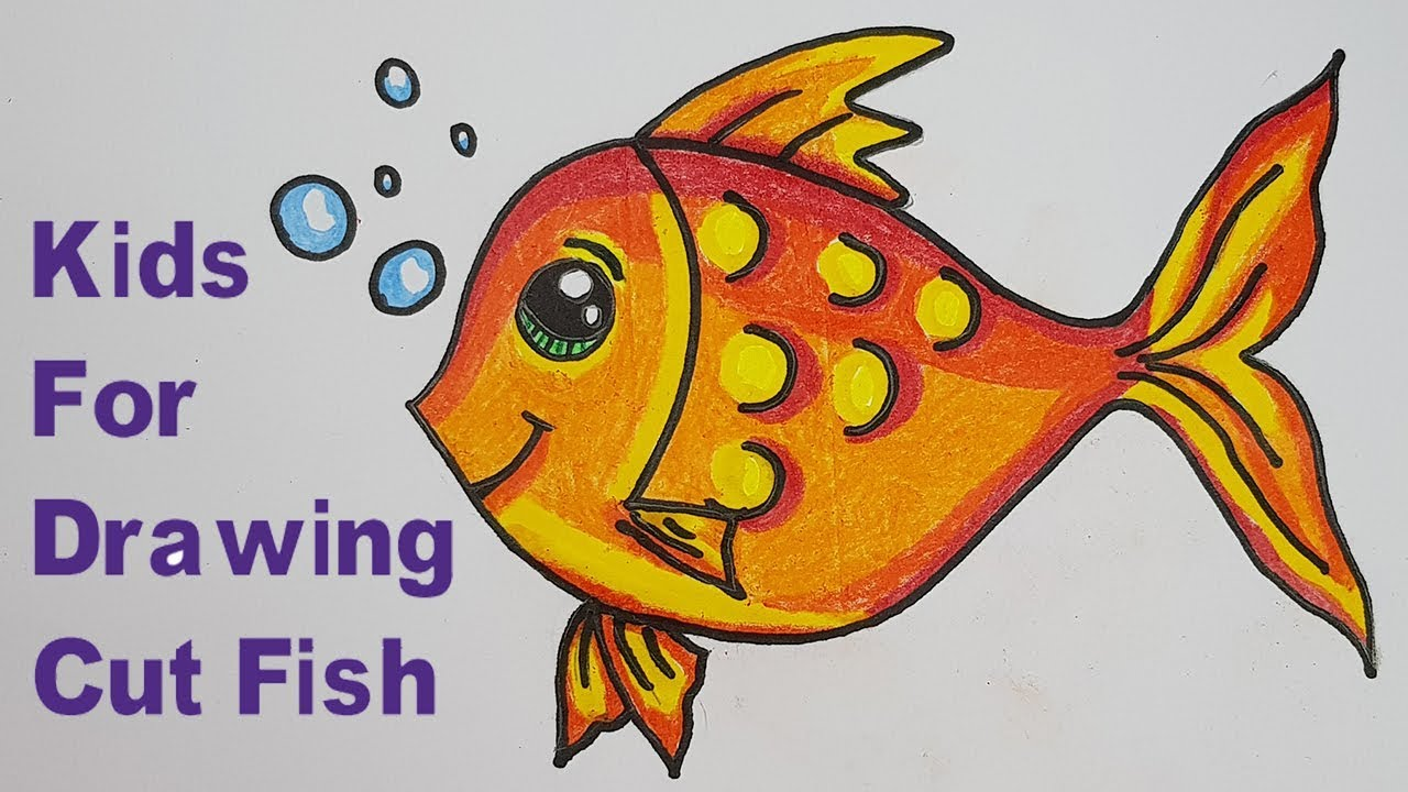 How to draw a cartoon cute fish for kids step by step very easy drawing