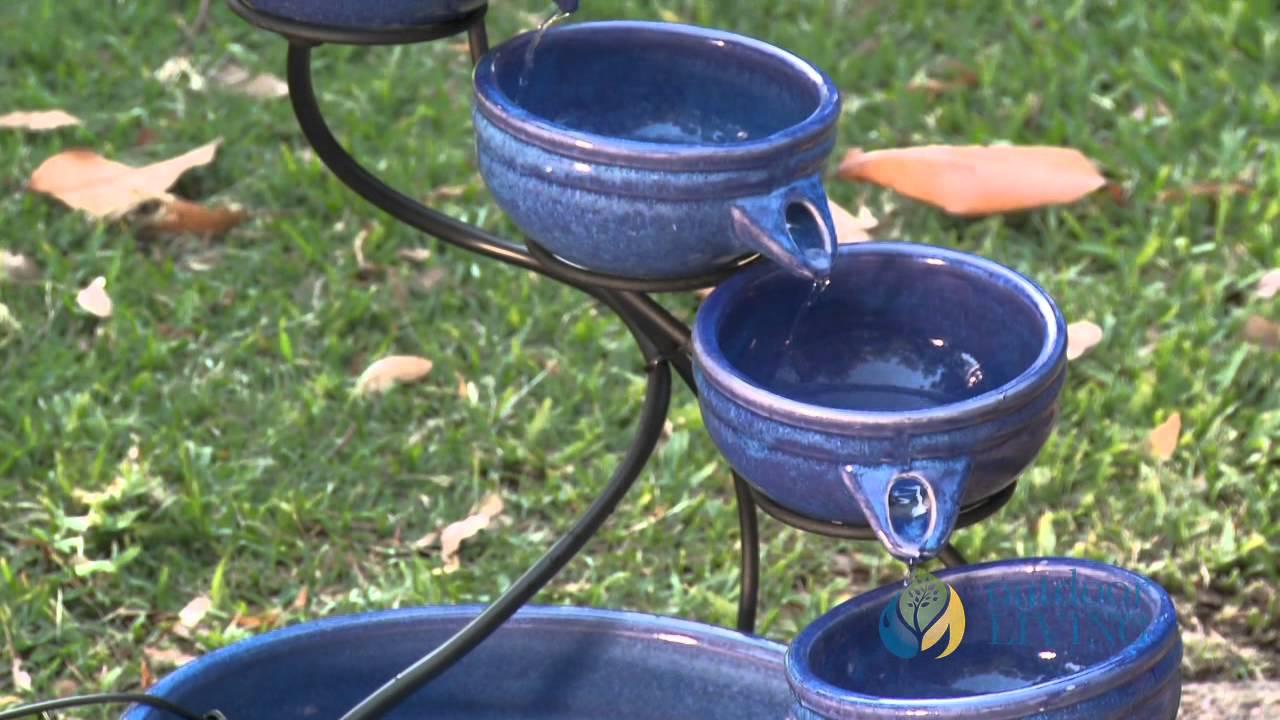 Smart Solar Ceramic Cascade Fountain