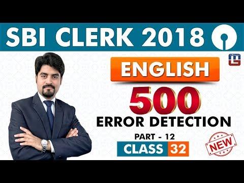 SBI Clerk Prelims 2018   500 Error Detection   Part -12   9 am   Class-32
