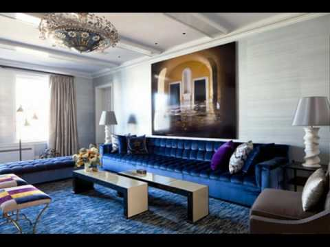 Royal Blue Living Room With Sofa Ideas