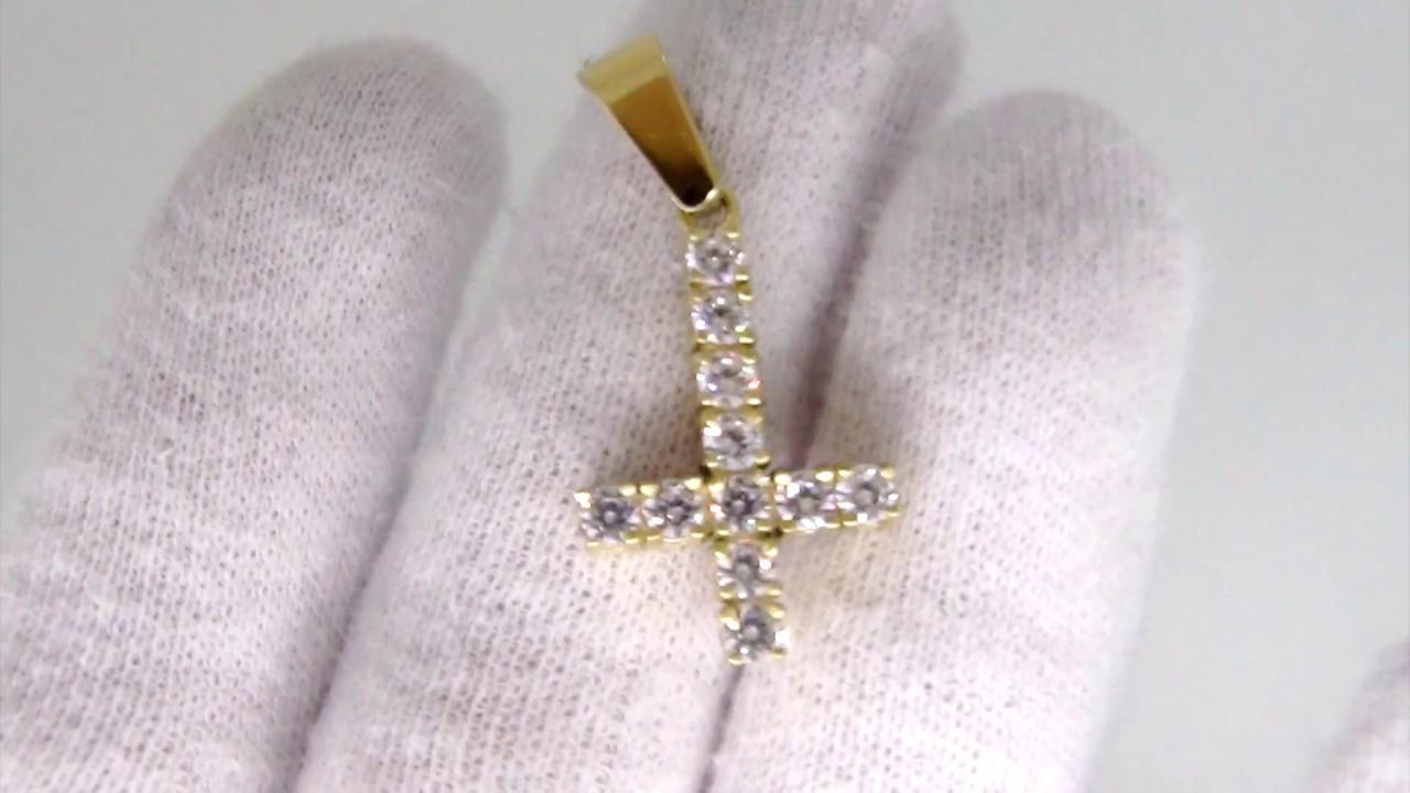 3MM CZ Tennis Cross Bling Bling Gold Steel