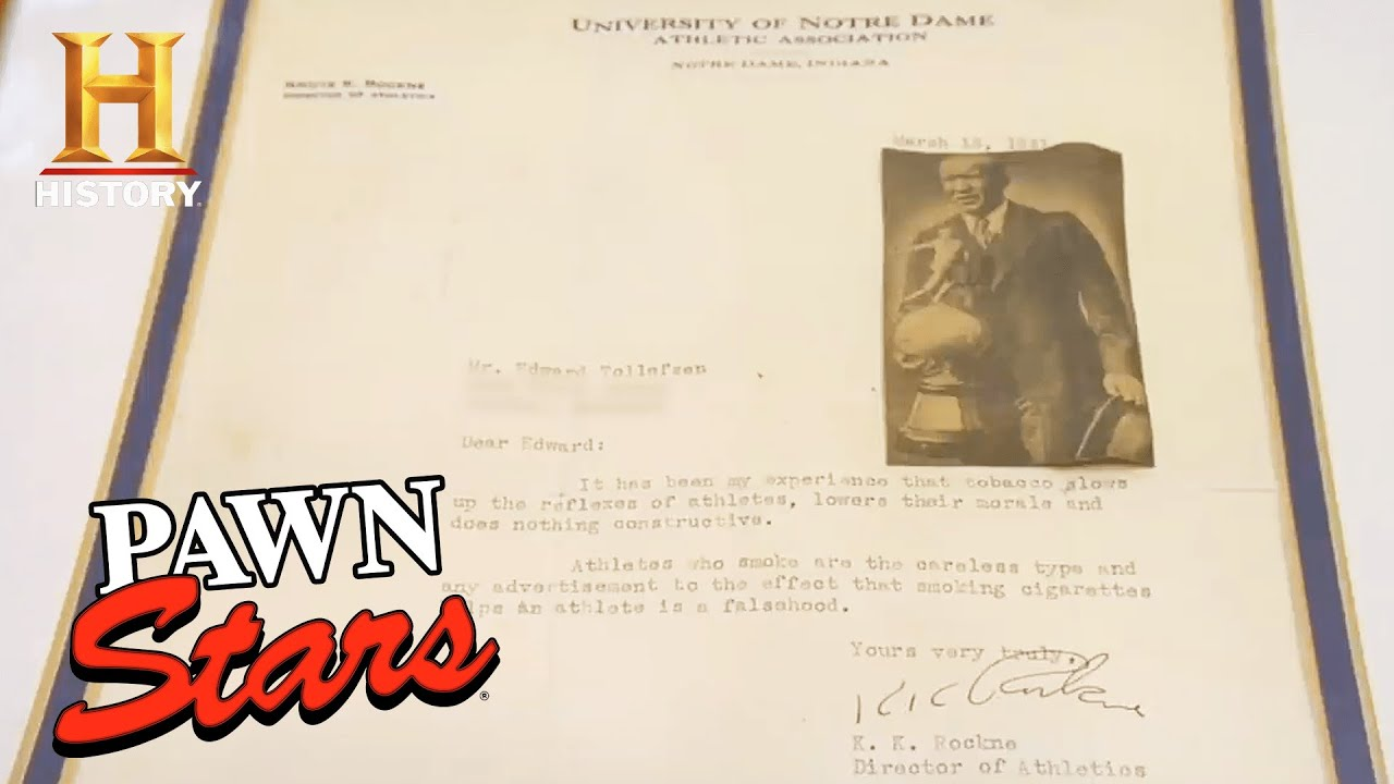 Pawn Stars: MAJOR FUMBLE for Letter Signed by LEGENDARY COACH Knute Rockne (Season 5) | History