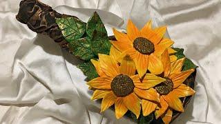 Bottle art with sunflower decoration