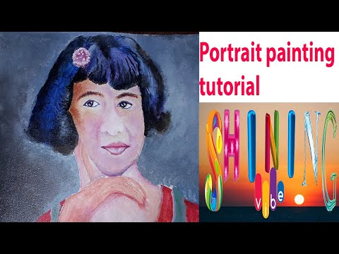 How to paint face,painting tutorial for beginners, acrylic painting in canvas,shining vibe.