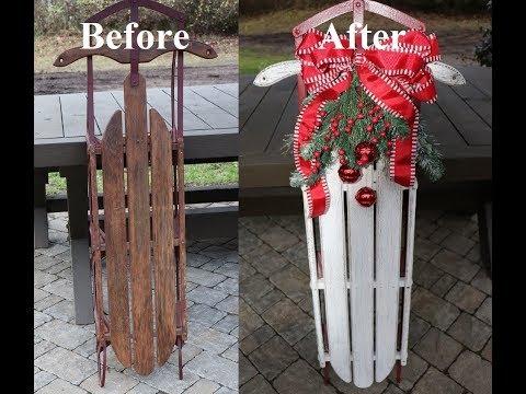 DIY Vintage Sled Christmas Make Over