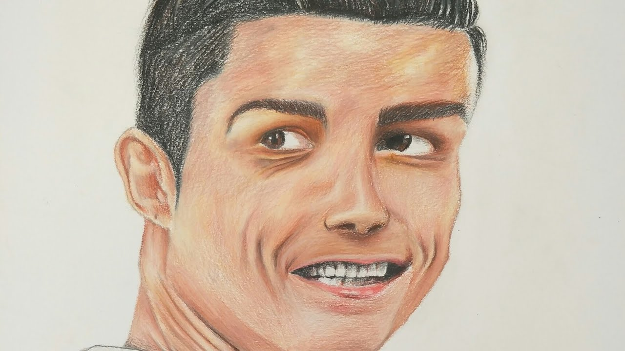 Realistic cristiano ronaldo drawing tutorial with colour pencils for