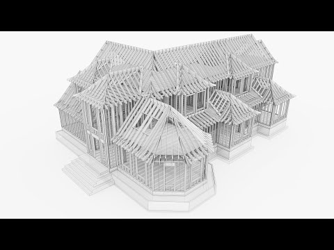 Sketchup Model Timelapse - Wood Frame Home - 5X Speed