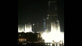 Dubai Fountains from my terrrace at The Address Hotel - Andrea Bocelli