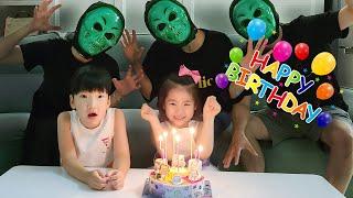 생일 축하합니다!! 서은이의 6번째 생일파티 가면놀이 아이스크림 케익 Happy Birthday Seoeun