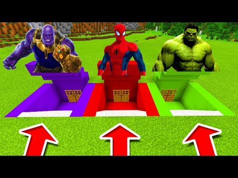 Minecraft PE : DO NOT CHOOSE THE WRONG SECRET BASE! (Thanos, Spiderman & Hulk)