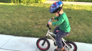 2-year old rides a bicycle with training wheels