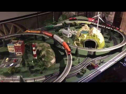 HO Scale Complete Multi-Train Layout with Tracks, Trains, Controller and Scenery Elements