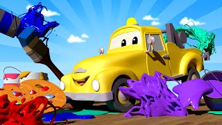 Kids Car Cartoon - Paint Your SUPER HERO With the Baby Cars in Car City! - Cartoon for kids