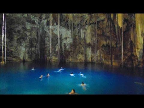 YUCATAN, MEXICO: Swimming in an amazing underground lake (Cenote)