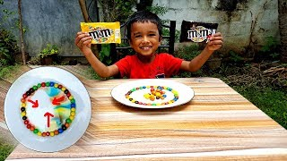 How to make M&M's Rainbow & Amazing m&ms almond Experiment
