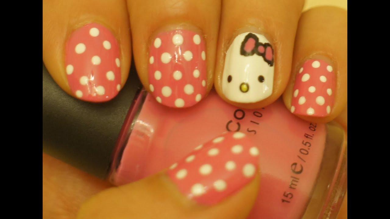 Diseño De Uñas Para Niñas Hello Kitty 40 Youtube