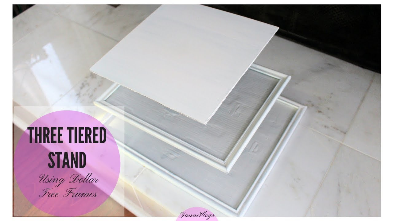DIY Dollar Tree | Three Tiered Stand using Picture Frames - YouTube