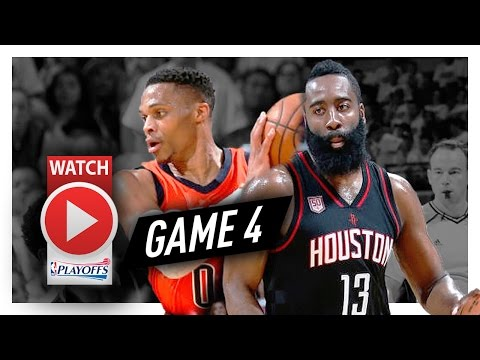 Russell Westbrook vs James Harden Game 4 MVP Duel Highlights (2017 Playoffs) Thunder vs Rockets