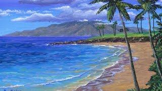 cara melukis pantai tropis menggunakan akrilik di atas kanvas
