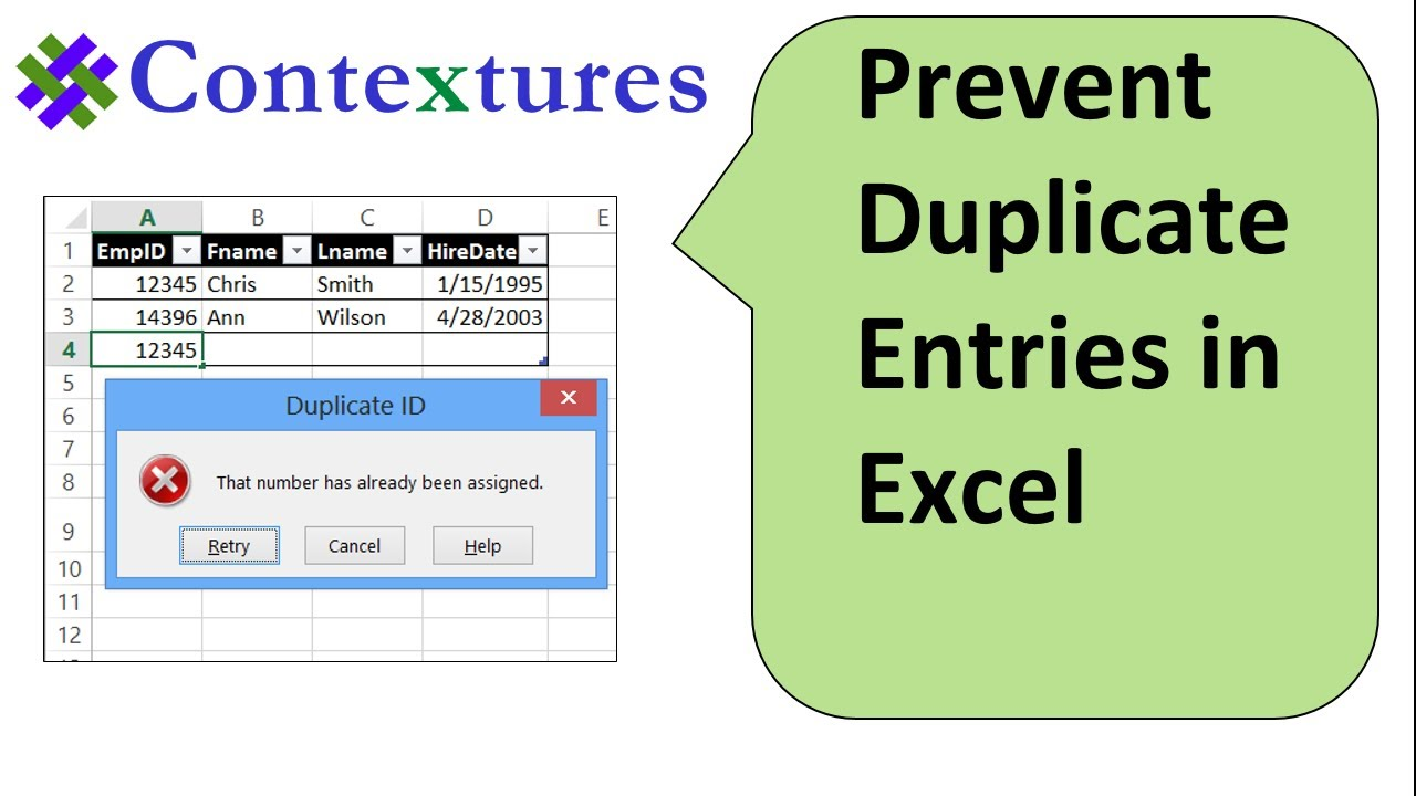 prevent duplicate entries in excel column