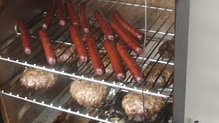 Char Broil Electric Smoker Hamburgers & Hot dogs Labor Day Cheeseburgers