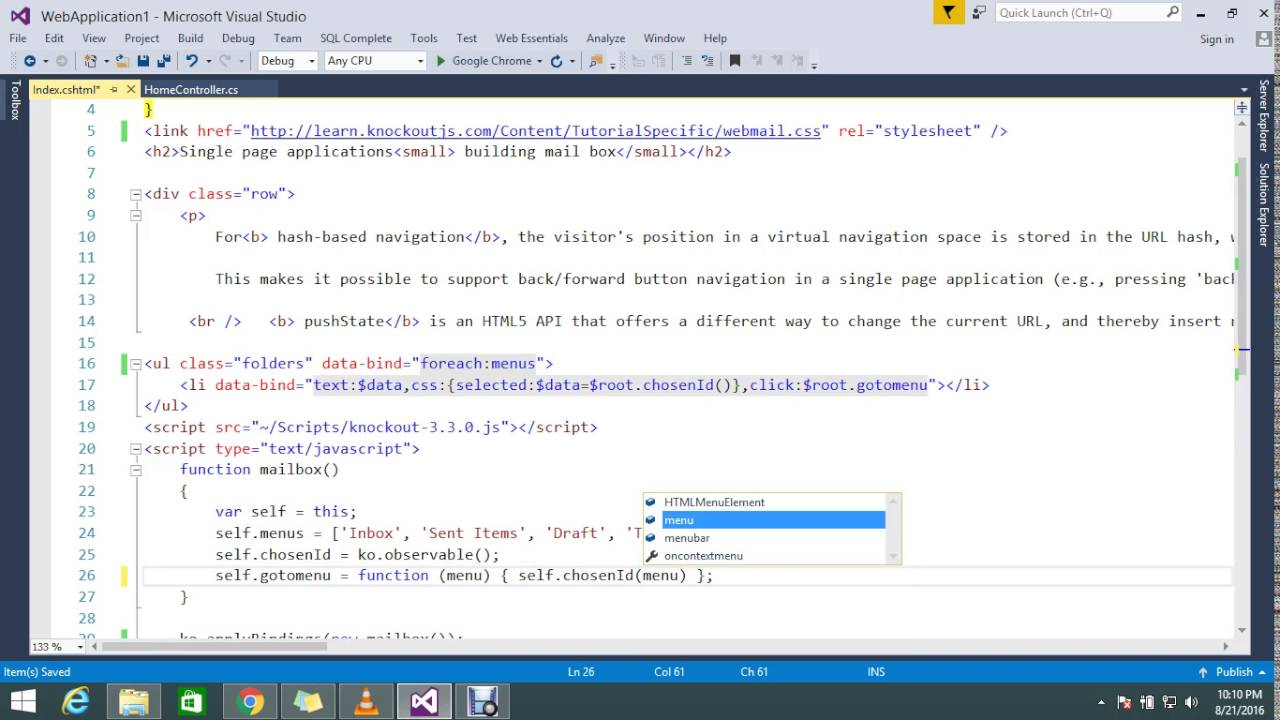 select menu on click without page load using knockoutJS (2/2) in ASP NET MVC