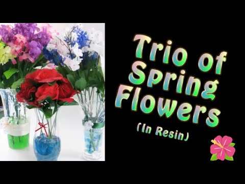 Trio of Spring Flowers Floral Arrangement in resin/ DIY Dollar Tree Vase Bouquets with Resin Fails