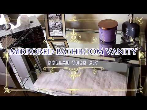 Mirrored Bathroom Vanity Table DIY - Home Decor- Dollar Tree - Organization