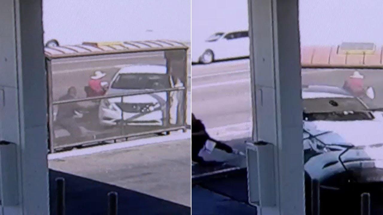 Car crashes into Arizona bus stop, narrowly misses woman on motorized wheelchair | ABC7