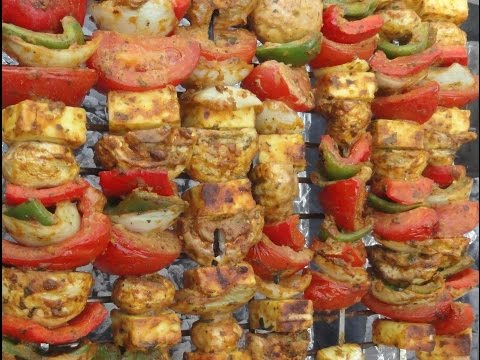 "Delicious PANEER & VEGETABLE TIKKA ""Charcoal Barbecue Shaslik"" or Oven Roasted (a Vegetarian Recipe)"