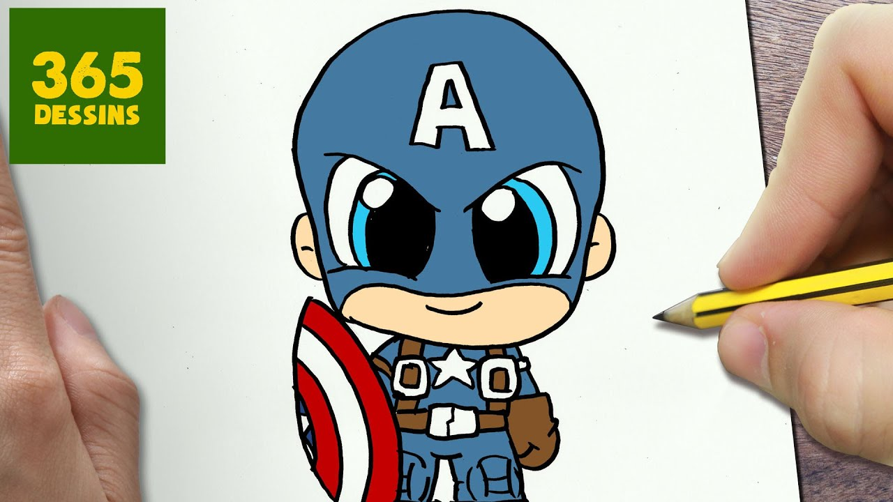 COMMENT DESSINER CAPTAIN AMERICA KAWAII ÉTAPE PAR ÉTAPE