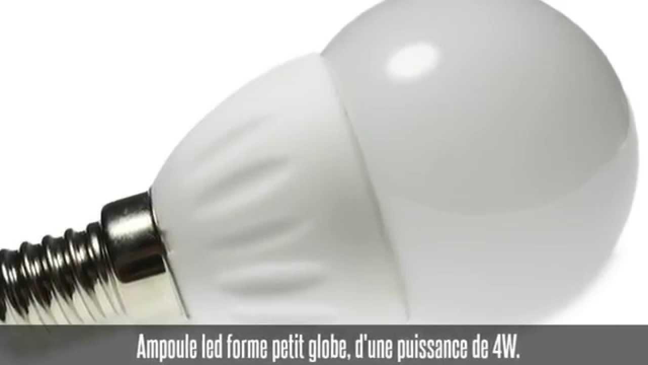 ampoule led petit globe culot e14 4w blanc chaud youtube. Black Bedroom Furniture Sets. Home Design Ideas